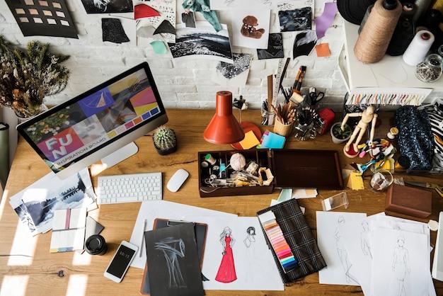 Werkzeuge und materialien für das modedesign