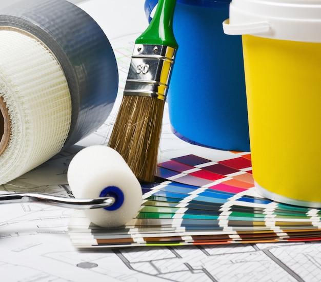Werkzeuge und zubehör für die renovierung