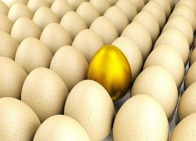 Wertvolles goldenes ei für führungskonzept, wiedergabe 3d