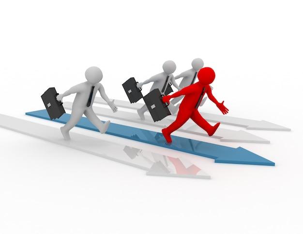 Wettbewerb der menschlichen rasse von 3d-menschen. erfolgreiches konzept.
