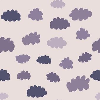 Wetterhintergrunddesign für stoff und dekor. nahtloses muster der wolken. textur für tapete, hintergrund, sammelalbum. vektor-illustration