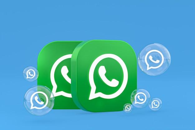 Whatapps-symbol auf dem bildschirm smartphone oder handy 3d-render auf blauem hintergrund
