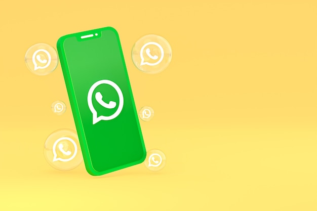 Whatapps-symbol auf dem bildschirm smartphone oder handy 3d-render auf gelbem hintergrund