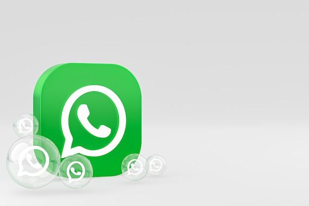 Whatapps-symbol auf dem bildschirm smartphone oder handy 3d-render auf grauem hintergrund