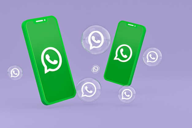 Whatapps-symbol auf dem bildschirm smartphone oder handy 3d-render auf lila hintergrund