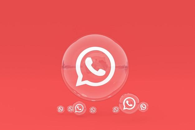 Whatapps-symbol auf dem bildschirm smartphone oder handy 3d-render auf rotem hintergrund