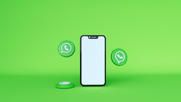 Whatsapp 3d-illustration über das telefon