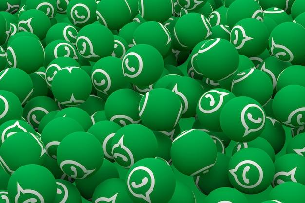 Whatsapp emoji auf grünem hintergrund, social media ballon symbol mit whatsapp icons muster