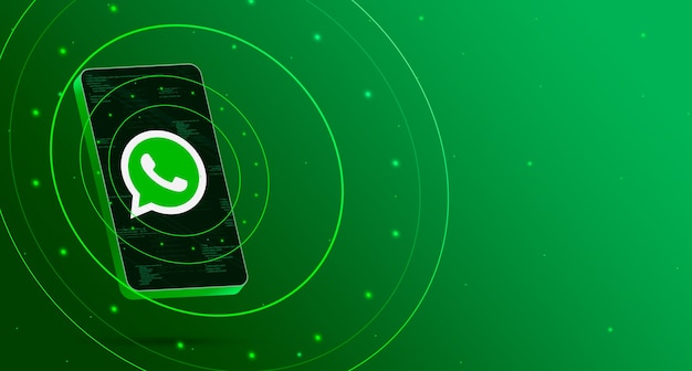 Whatsapp-logo am telefon mit technologischem display, intelligentes 3d-rendering