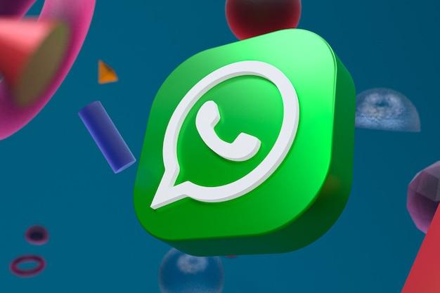 Whatsapp-logo auf abstraktem geometriehintergrund