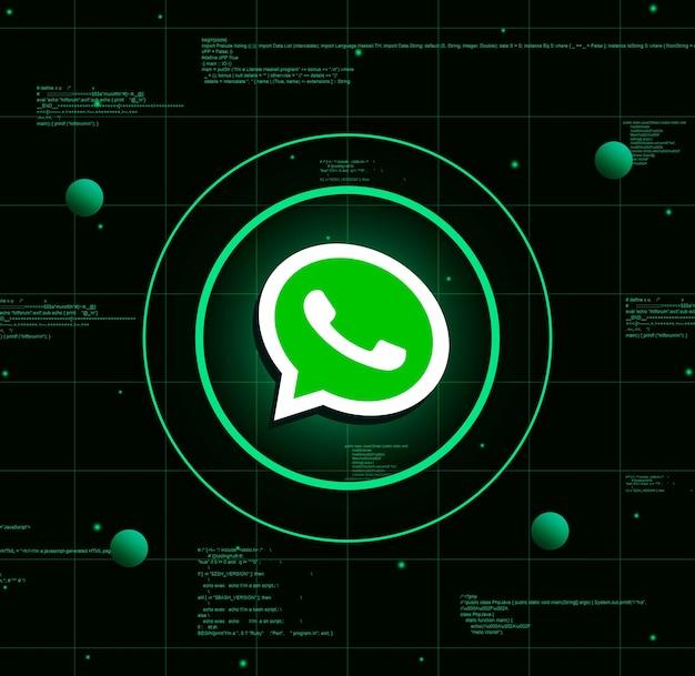 Whatsapp-logo auf realistischem technologiehintergrund