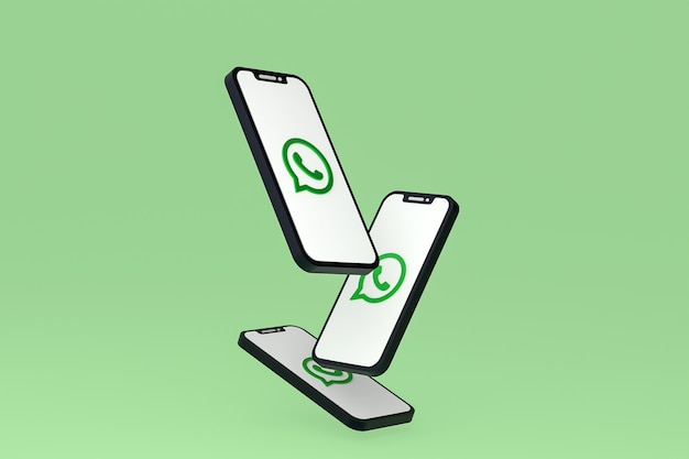 Whatsapp-symbol auf dem bildschirm smartphone oder handy 3d-rendering