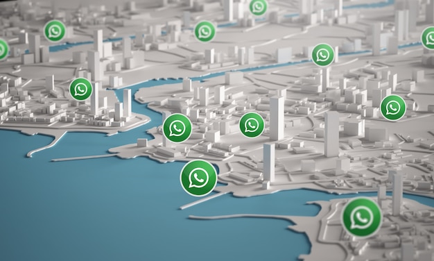 Whatsapp-symbol über luftaufnahme von stadtgebäuden 3d-rendering