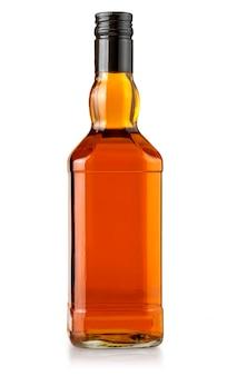 Whiskyflasche leer auf weiß