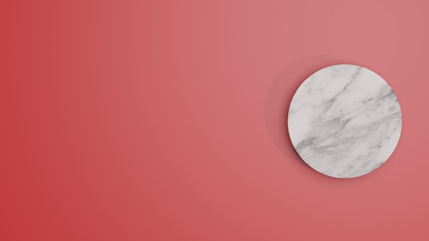 White circle marmorzylinder podium in rotem hintergrund. konzept szene bühne schaufenster für die produktpräsentation