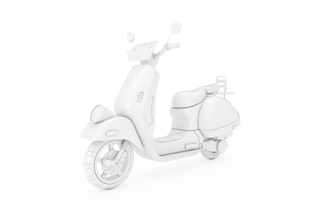 White classic vintage retro oder elektroroller im clay style duotone auf weißem hintergrund 3d-rendering