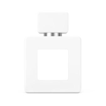 White cube parfume bottle mockup mit leerem etikett für jugenddesign auf weißem hintergrund. 3d-rendering
