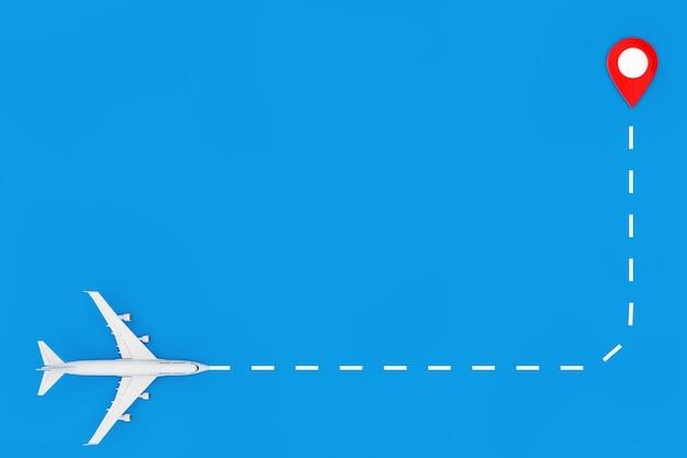 White jet passagier-flugzeug fliegen zum kartenzeiger-pin auf blauem hintergrund. 3d-rendering