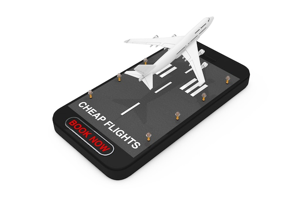 White jet passagier flugzeug start vom handy mit start- und landebahn, billigflüge unterzeichnen und jetzt buchen schaltfläche auf weißem hintergrund. 3d-rendering