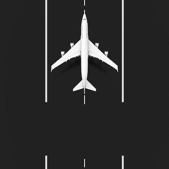 White jet passagierflugzeug start von der start- und landebahn mit leerzeichen für ihr design top view extreme nahaufnahme. 3d-rendering