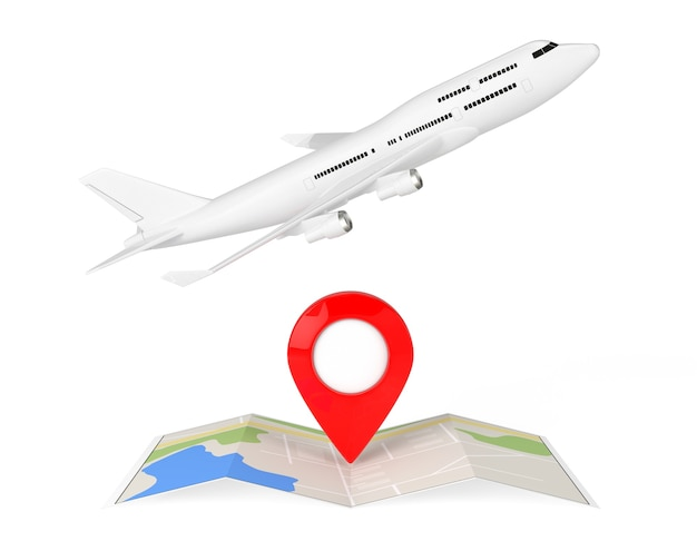 White jet passagierflugzeug über gefaltete abstrakte navigationskarte mit ziel-pin auf weißem hintergrund. 3d-rendering.