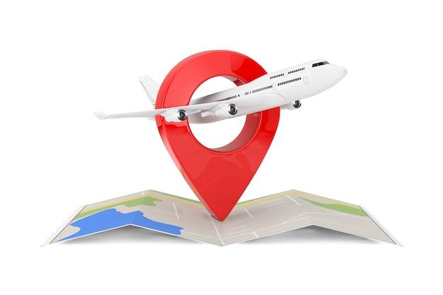 White jet passagierflugzeug über gefaltete abstrakte navigationskarte mit ziel-pin-zeiger auf weißem hintergrund. 3d-rendering