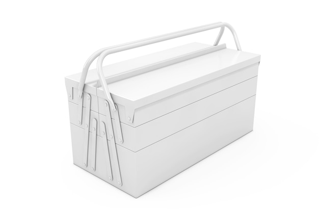 White metal classic toolbox im clay-stil auf weißem hintergrund. 3d-rendering