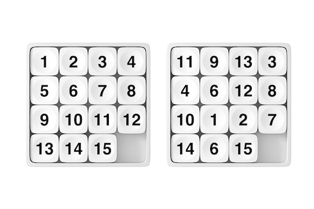White pocket sliding fifteen rebus puzzle-spiel auf weißem hintergrund. 3d-rendering