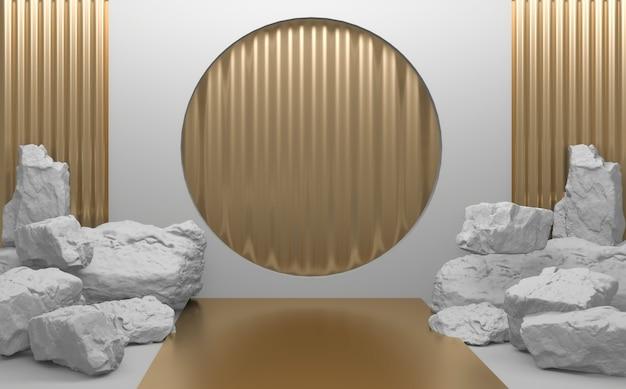 White rock steine auf podium geometrisch für produktpräsentation. 3d-rendering