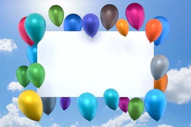 Whiteboard mit bunten luftballons auf blauem himmel