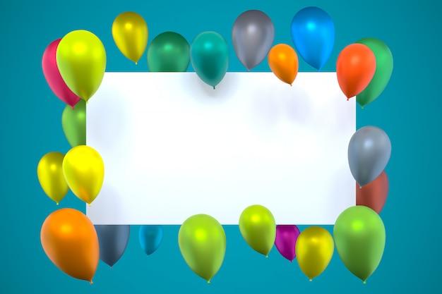 Whiteboard mit bunten luftballons auf grün