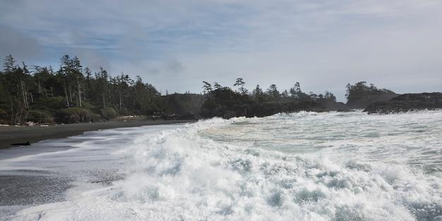 Whitecaps auf dem strand, pazifische rand-nationalpark-reserve, tofino, vancouver island, britisch-columbi