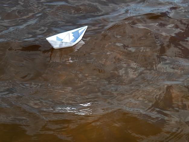 Whitepaper-boot auf der wasseroberfläche. ein symbol der ausdauer.