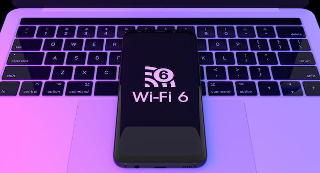 Wi fi 6 logo auf dem smartphone mit laptop