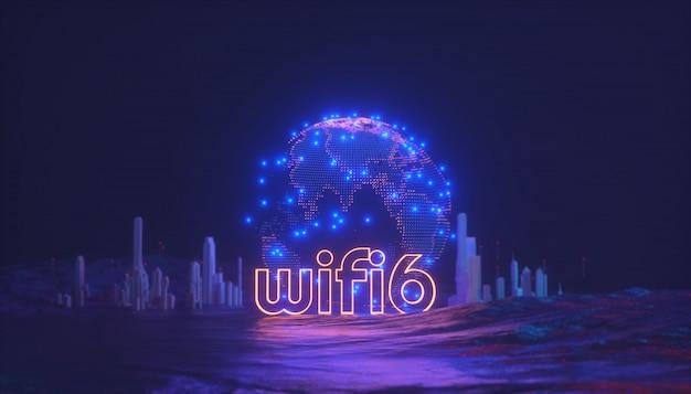 Wi-fi 6-logo mit 3d-rendering-illustration der globalen karte und des verbindungskonzepts