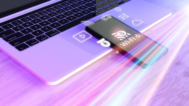 Wi-fi 6-logo und konnektivitäts-app auf dem smartphone mit laptop