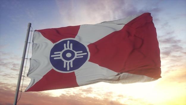 Wichita-stadtflagge, kansas, im wind-, himmel- und sonnenhintergrund wellenartig bewegend. 3d-rendering.
