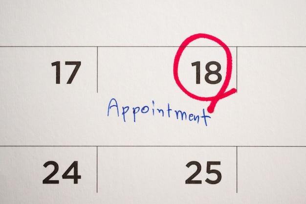 Wichtiger terminplan im kalender