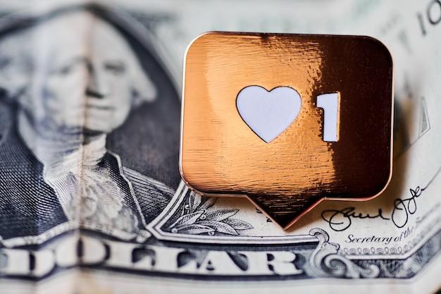 Wie herzsymbol auf dollar. wie zeichenknopf, symbol mit herz und einer ziffer