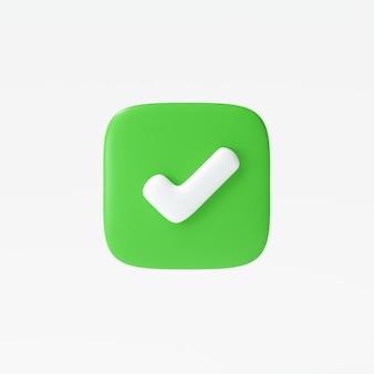 Wie oder das richtige symbolsymbol isoliert auf weißem hintergrund, häkchen, symbol für mobile app. 3d-render-darstellung