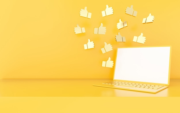 Wie symbol 3d-rendering. social media benachrichtigung.