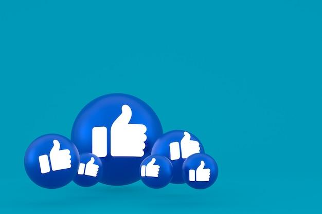 Wie symbol facebook reaktionen emoji 3d rendern, social media ballon symbol auf blauem hintergrund