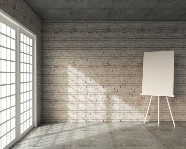 Wiedergabe 3d der dachbodenart, des klassenzimmers mit whiteboard und der weißen backsteinmauer