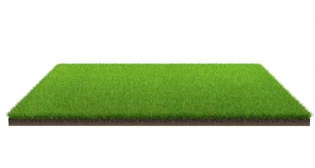 Wiedergabe 3d der grünen rasenfläche lokalisiert auf einem weißen hintergrund mit beschneidungspfad. sportplatz.