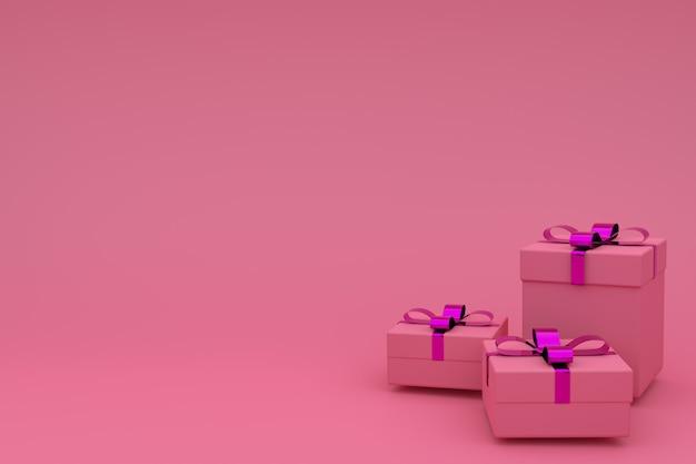 Wiedergabe 3d der realistischen rosa geschenkbox mit bandbogen auf rosa. leerer copyspace für partei, förderungssocial media-fahnen, poster, geburtstag, neues jahr oder weihnachten