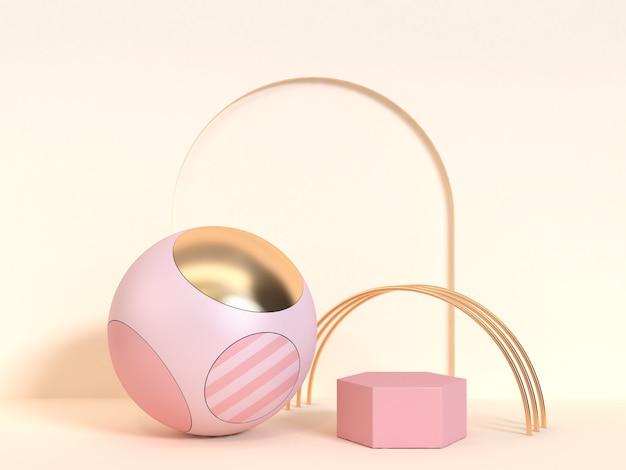 Wiedergabe 3d der rosa und goldenen kugel