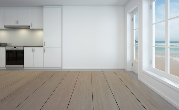 Wiedergabe 3d des esszimmers des sees und der küche im luxusstrandhaus.