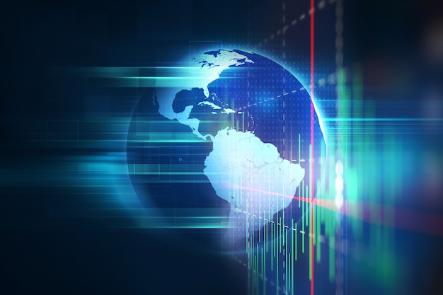 Wiedergabe 3d des futuristischen technologiezusammenfassungshintergrundes der erde