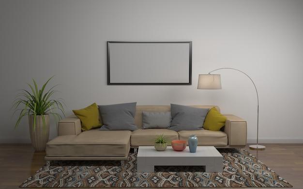 Wiedergabe 3d des innenraums des modernen wohnzimmers mit sofa - couch und tabelle