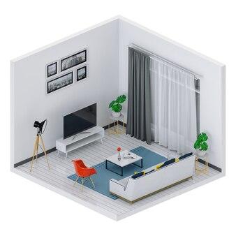 Wiedergabe 3d des innenwohnzimmers mit intelligentem fernsehapparat